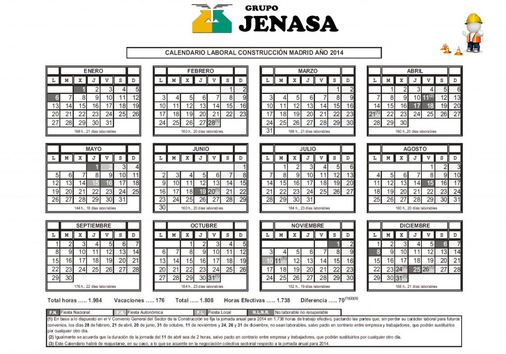 Calendario Laboral De La Construccion.Calendario Laboral Construccion 2014 Grupo Jenasa Asesoria