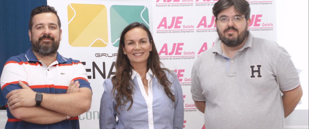 Marcos Arévalo Rodríguez, presidente de AJE Getafe, Esther Figueredo, coordinadora marketing y publicidad en Grupo Jenasa, Pablo Redondo Gil, Community Manager.