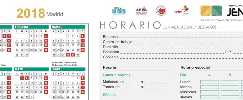Calendario Completo.Calendario Laboral 2018 Completo Con Fiestas De Todos Los