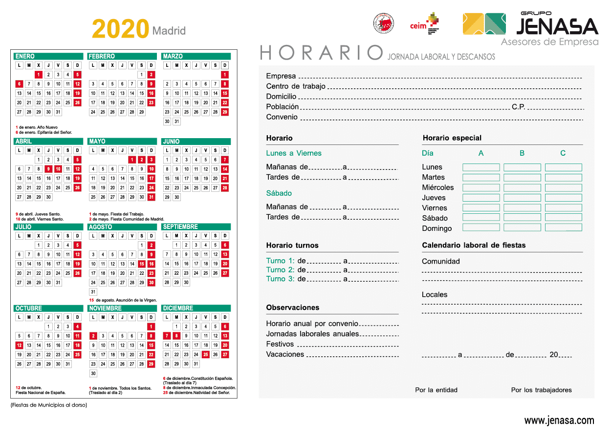 Calendario Laboral 2020 - Comunidad de Madrid